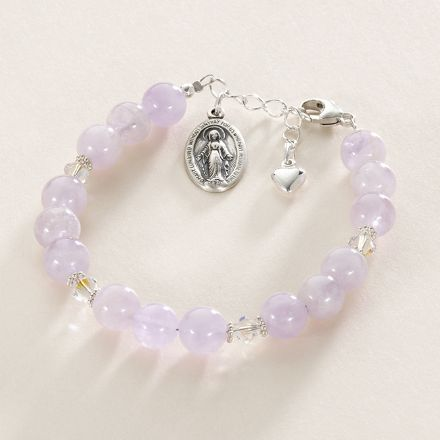 Gemstone Mary Charm Bracelet